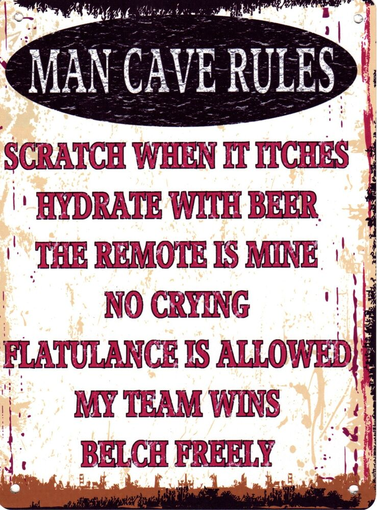 Man Cave Vintage Signs : Man cave rules metal sign retro vintage style small ebay