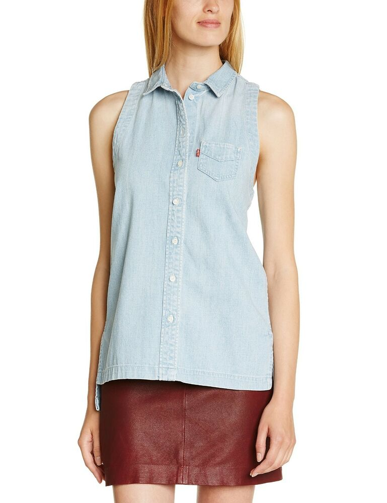 Levis denim shirt womens sleeveless peek a boo blue cotton for Blue denim shirt for womens