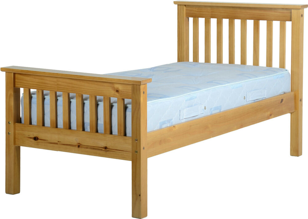 Monaco single 3ft high foot end solid antique pine wood for Strong wooden beds