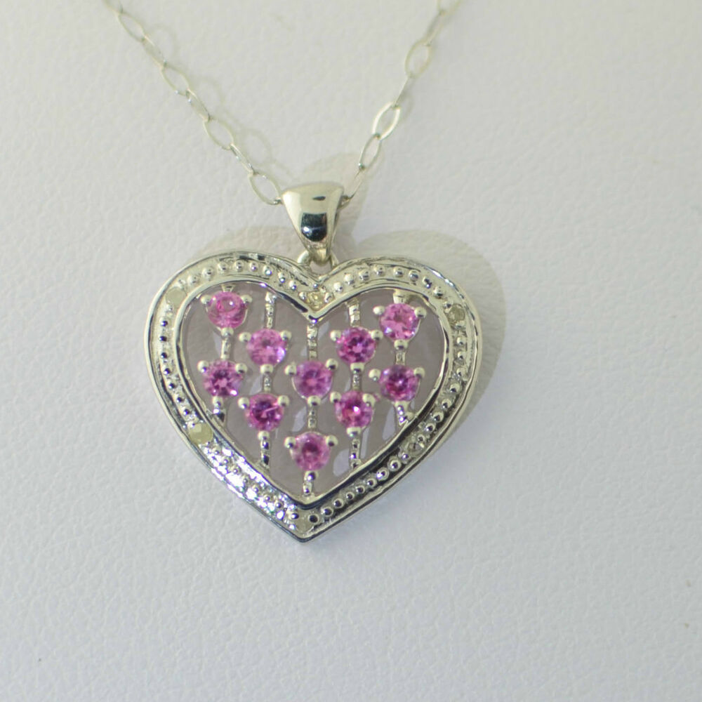 925 Sterling Silver Pink Sapphire Diamond Heart Necklace ...