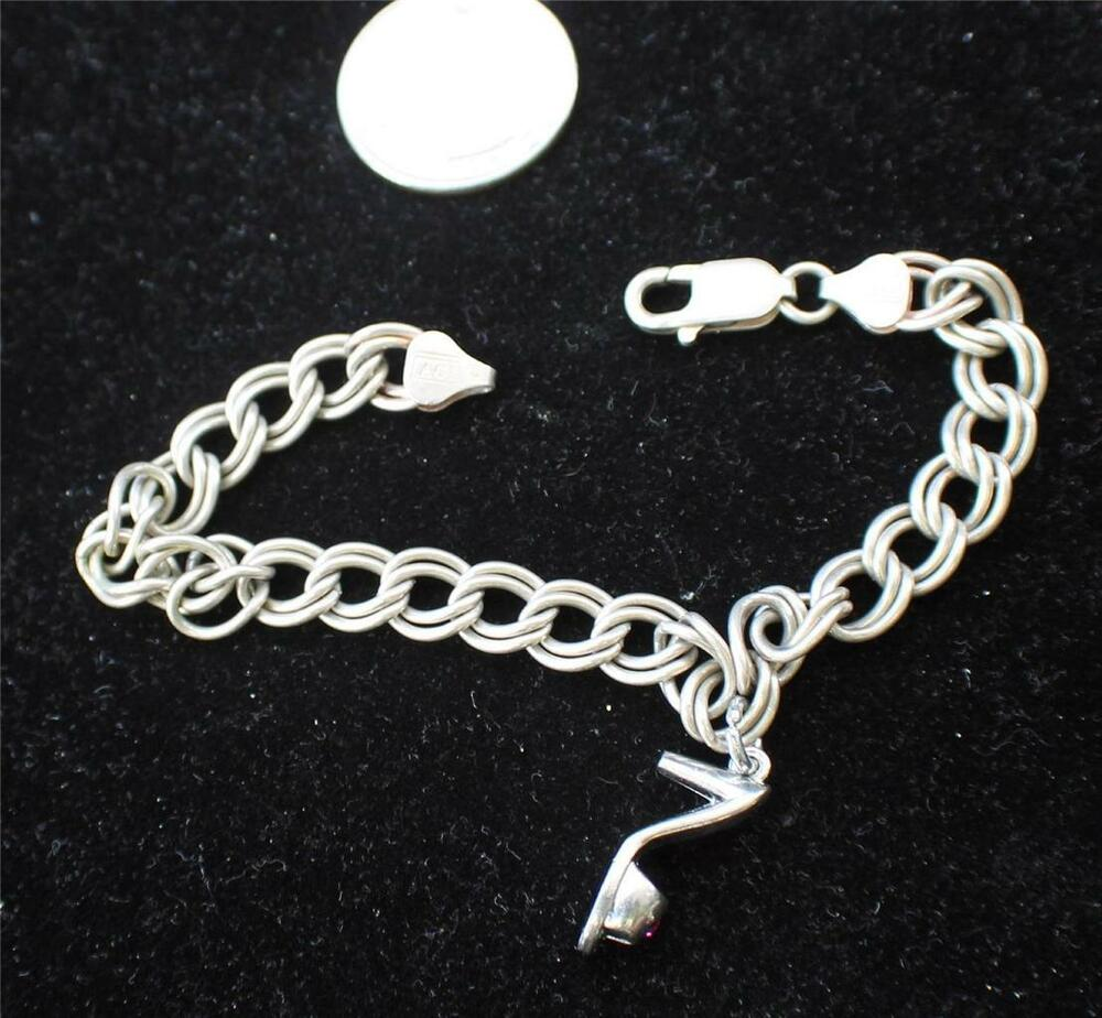 Shoe Charm Bracelet: Vintage Stamped ACT 925 ITALY Silver Chain Shape 8