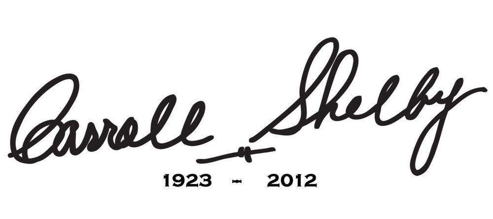 carroll shelby signature sticker with clear background