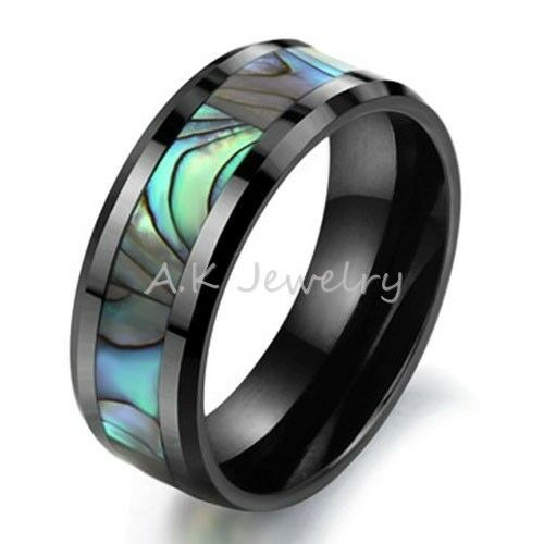 Tungsten Mother Of Pearl Mens Ring