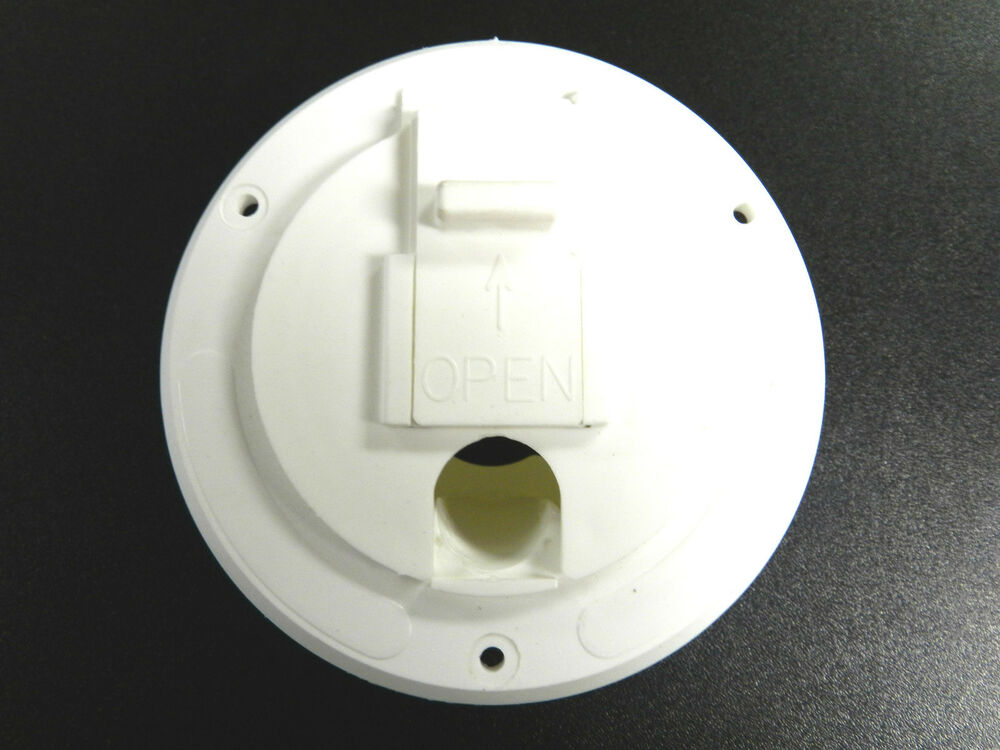 rv camper trailer power cord cable hatch cover white flip up new ebay. Black Bedroom Furniture Sets. Home Design Ideas