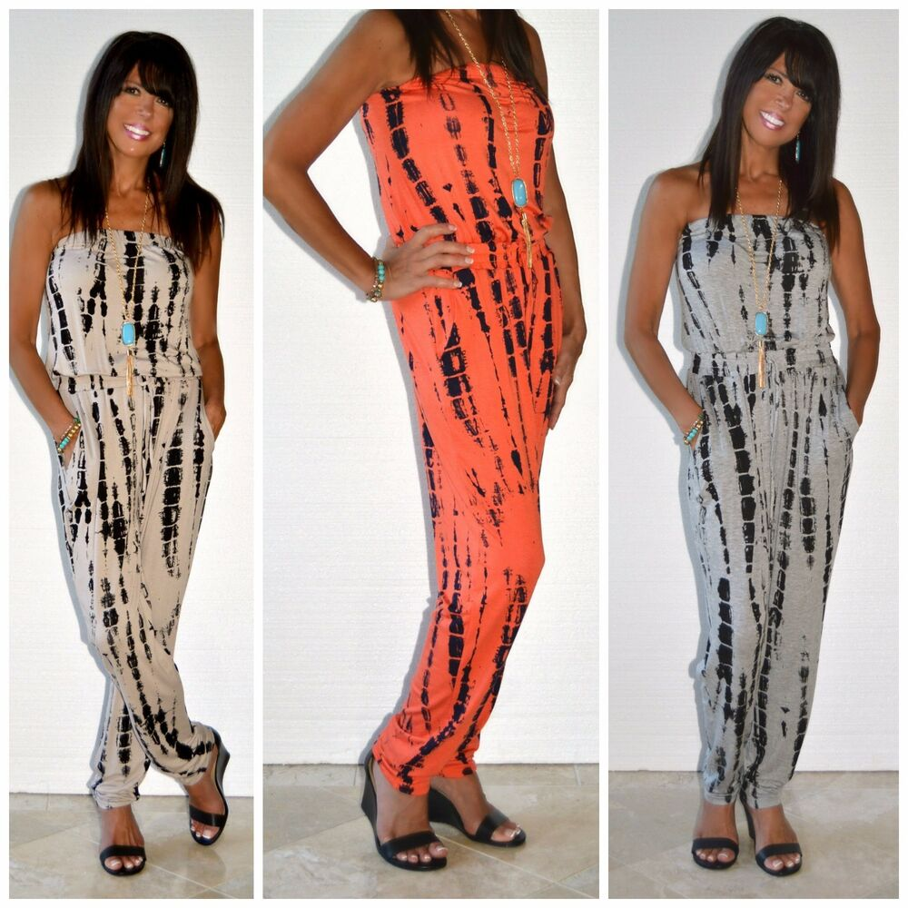 BOHO Tie Dyed Strapless Jumpsuit Romper Jersey Knit Coral ...