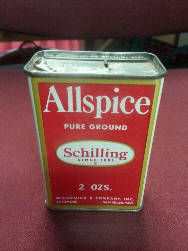 Vintage kitchen decor advertising spice tin can schilling for Retro kitchen set of 6 spice tins