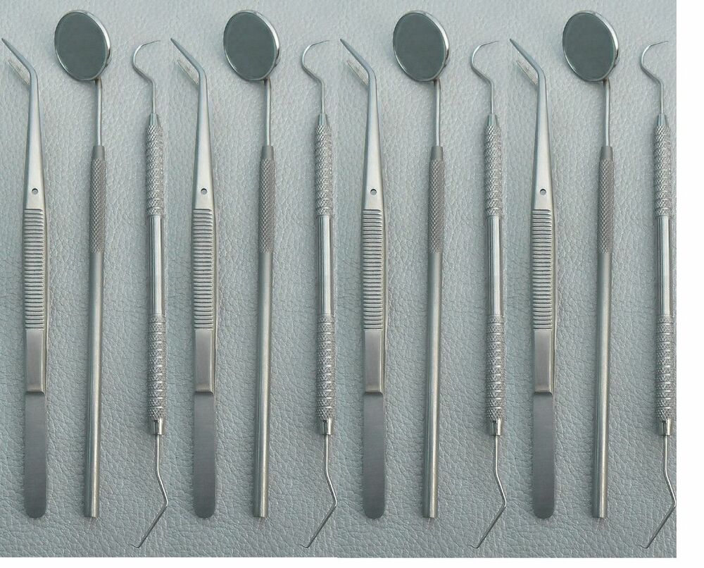 german brand dental instruments set mouth mirror explorer 5 cotton plain plier ebay. Black Bedroom Furniture Sets. Home Design Ideas