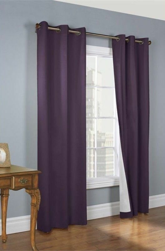 Purple solid grommet silk window curtain lined 63 quot jk32 ebay
