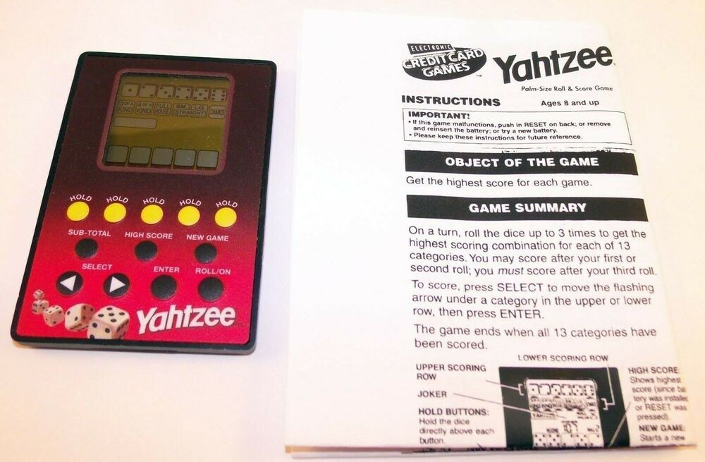 Yahtzee Electronic Hand Held Game Credit Card Games Hasbro 2004