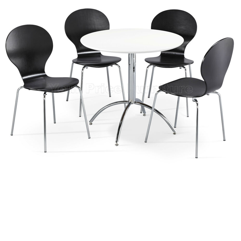 Dining set round white table and 4 black chairs chrome for Black and white dining set