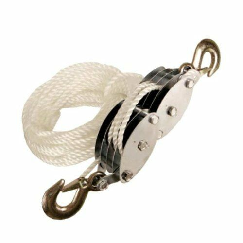 Block & Tackle Pulley Kit : Wheel rope block and tackle pulley hoist tool lift lifting pully rigging