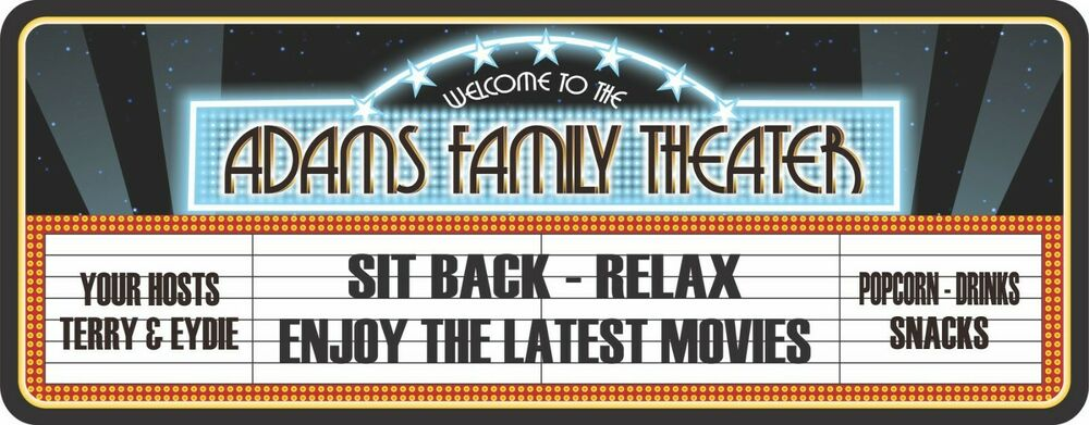 Vintage Home Theater Personalized Sign Neon Font W Stars