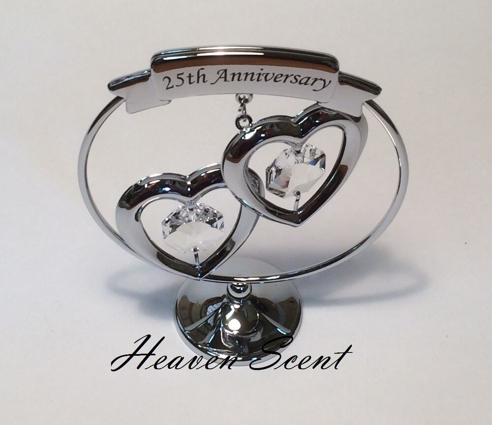 25th Silver Wedding Anniversary Gift Ideas With Swarovski Crystals Sp248 714573356777 Ebay