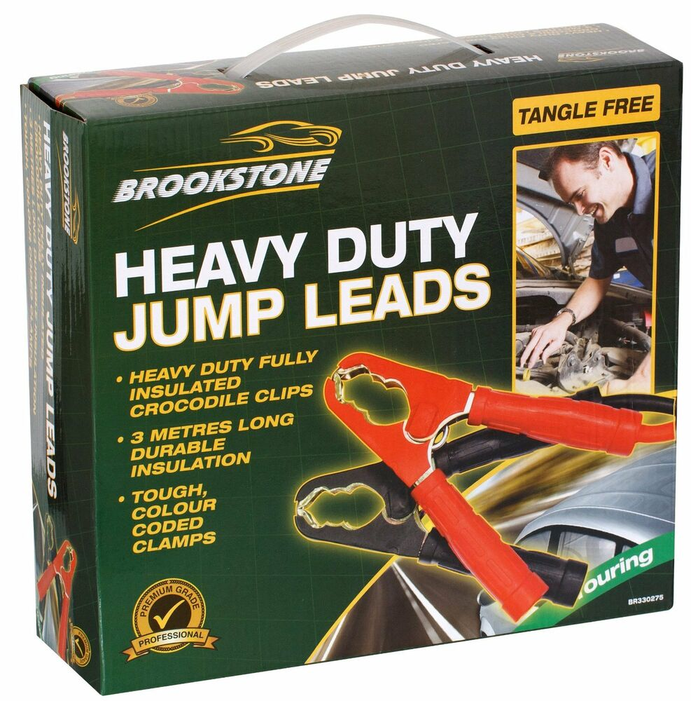 HEAVY DUTY CAR VAN JUMP LEADS 3 METRE LONG BOOSTER CABLES
