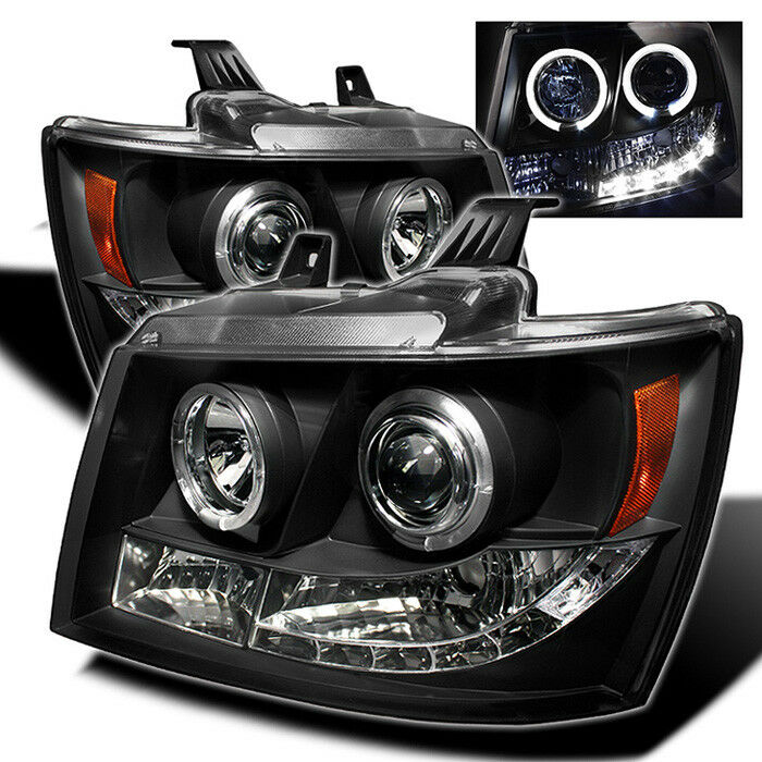 Chevy 07-14 Tahoe Avalanche Suburban Black Dual Halo LED ...