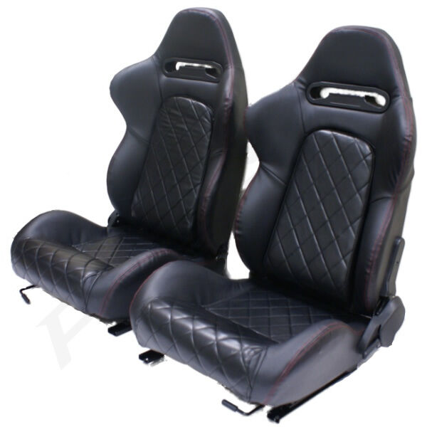 Bmw Z4 M Seats: BLACK PVC LEATHER EFF RECLINING BUCKET CAR SEATS FOR BMW 3