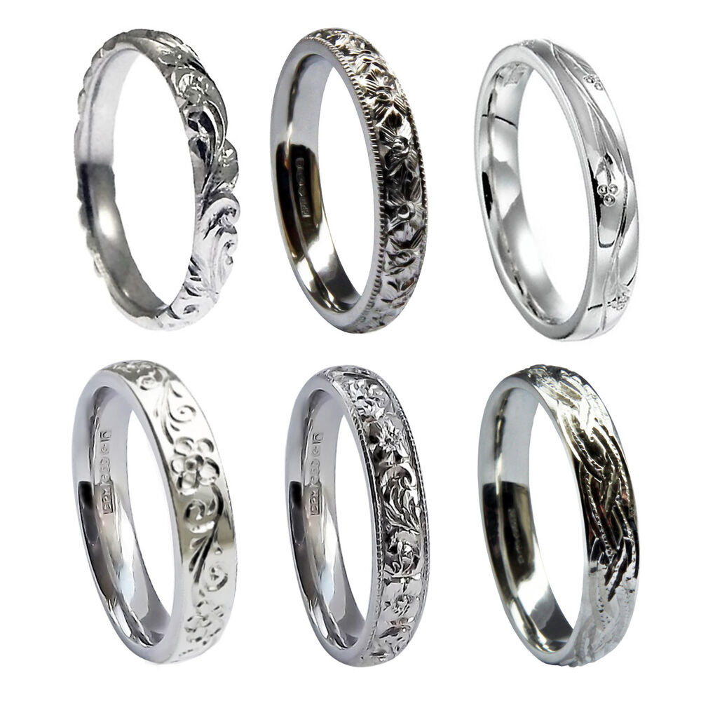 Platinum 2mm Hand Engraved Wedding Band With Milgrain: 3mm Hand Engraved Wedding Rings 950 Platinum Court Comfort