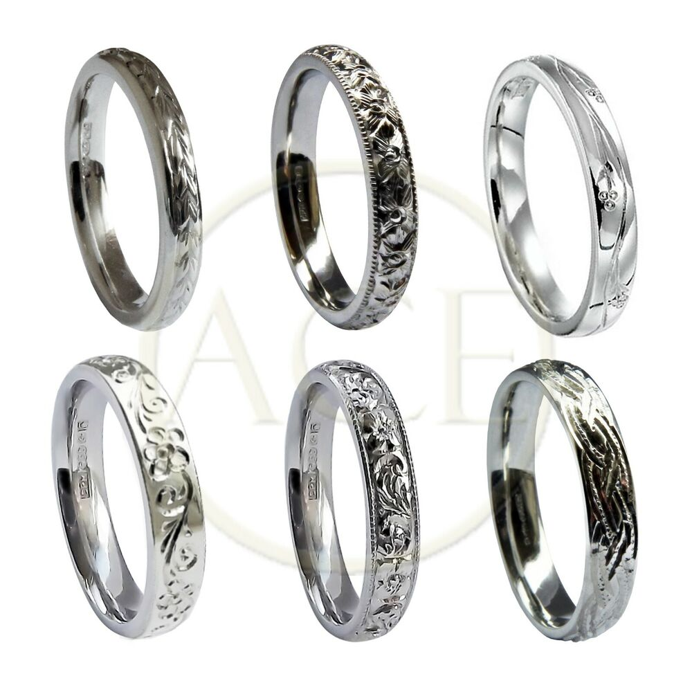 Engraving Ideas For Wedding Bands: Hand Engraved 9ct White Gold 3mm Wedding Rings Court
