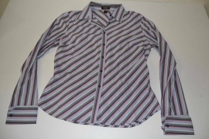 Express stretch gray blue purple striped dress shirt for Purple striped dress shirt