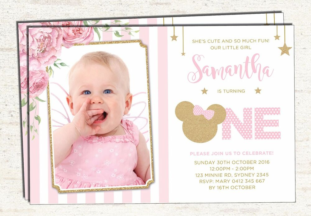 Details About Pink And Gold Minnie Mouse 1st Birthday Invitation Girl Invite Party Supplies