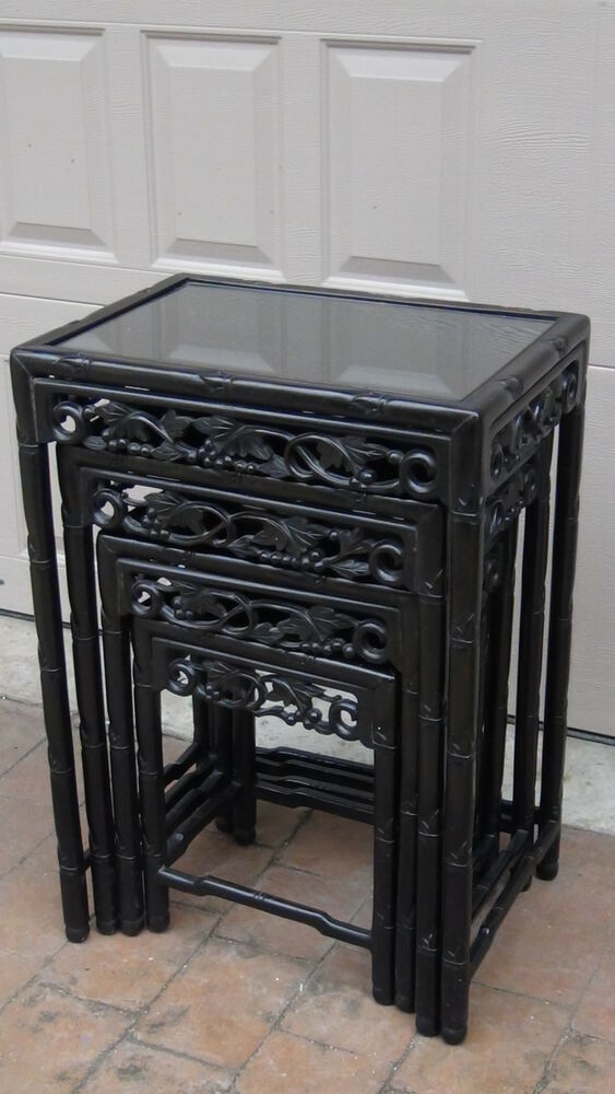 Set of 4 antique 19c chinese wood carved nesting tables for Glass top nesting tables