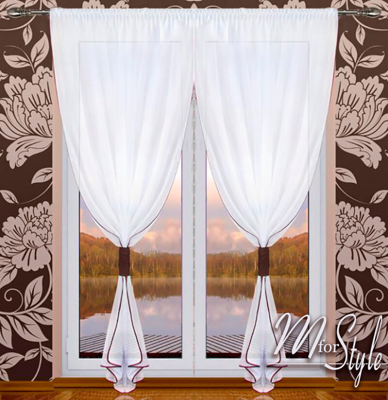 Pair of voile net curtain slot top white ready made panel for Window voiles