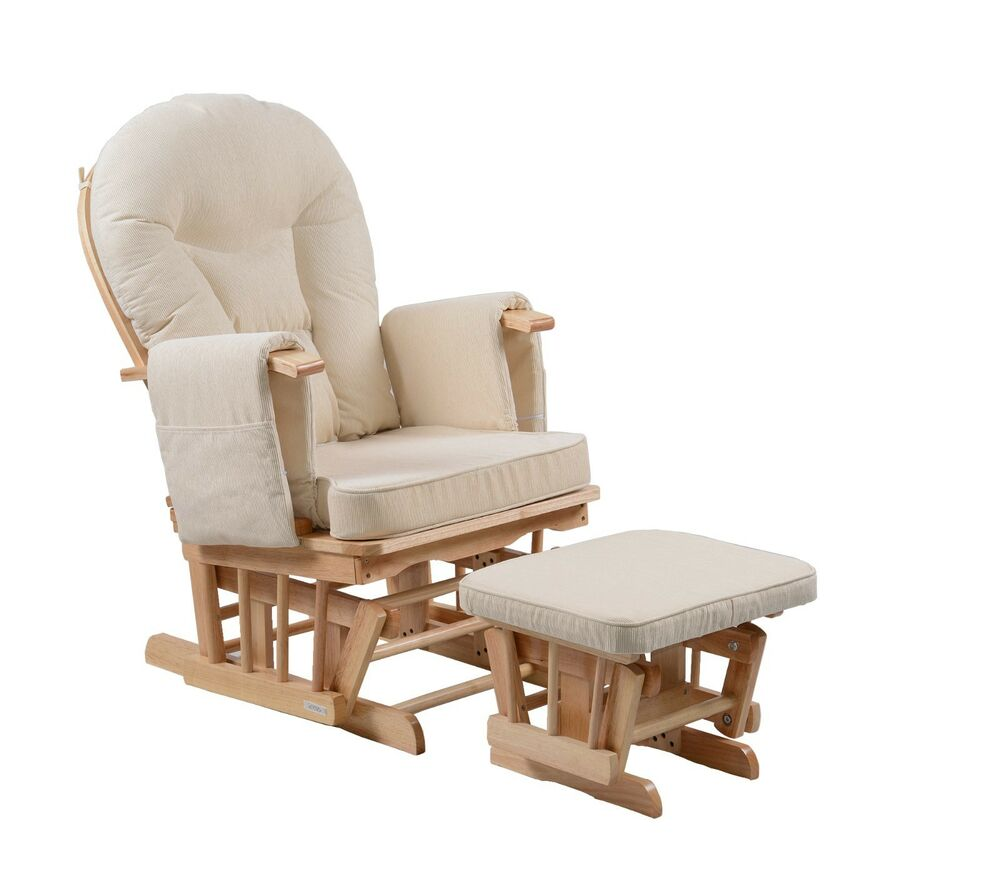 Serenity Natural Glider Nursing Maternity Gliding Rocking Chair With Footstoo