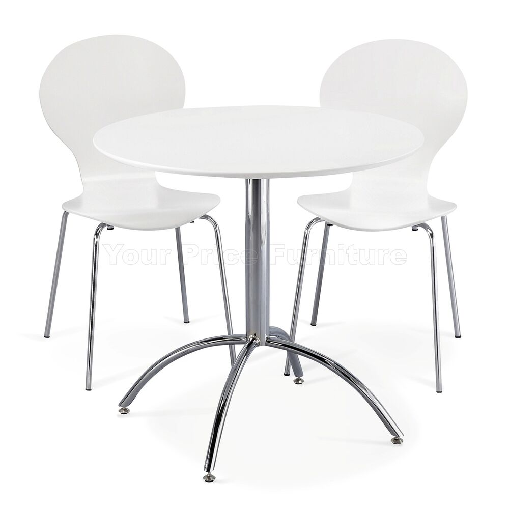Small White Kitchen Table Sets: Dining Set Round White Table And 2 White Chairs Chrome