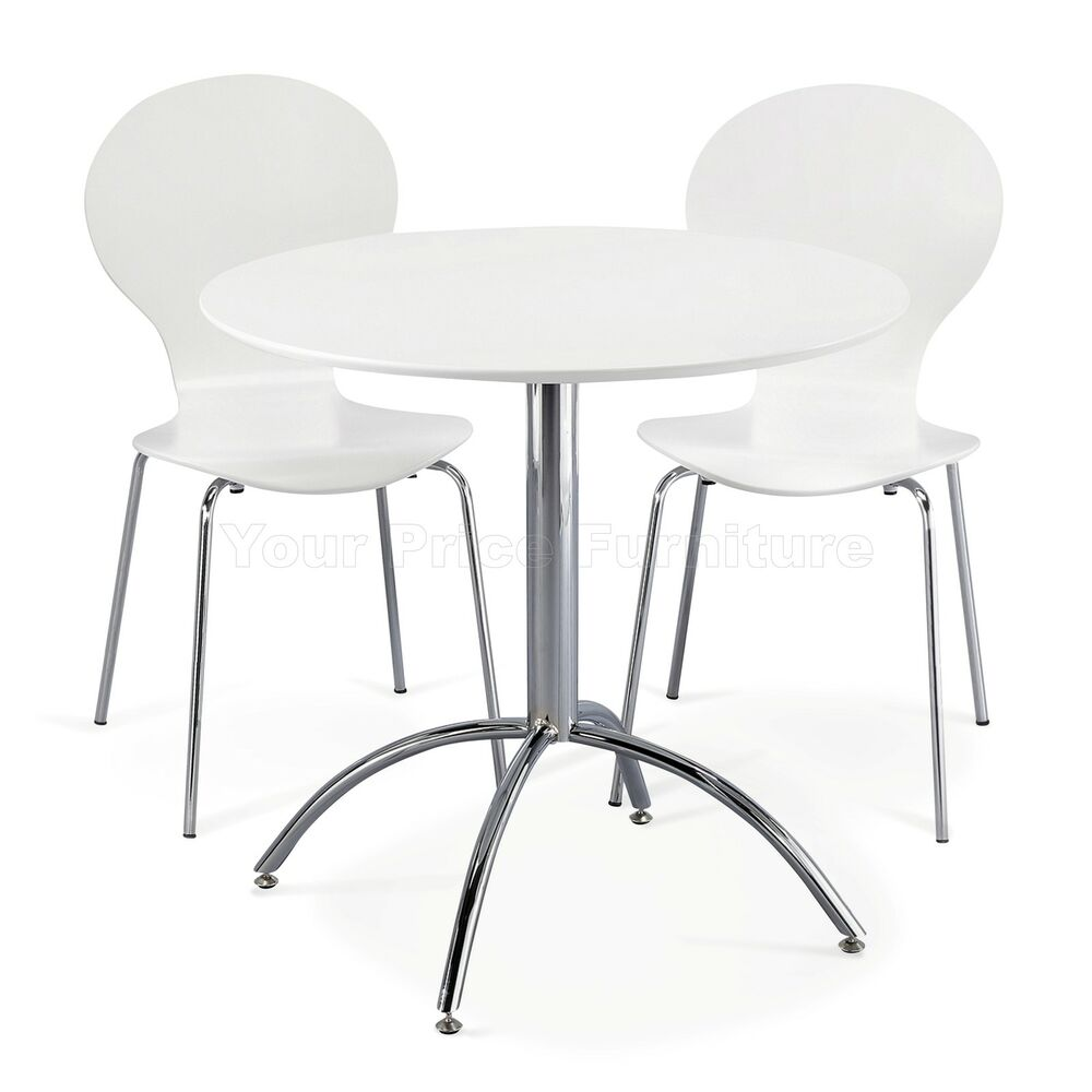 Dining Set Round White Table And 2 White Chairs Chrome