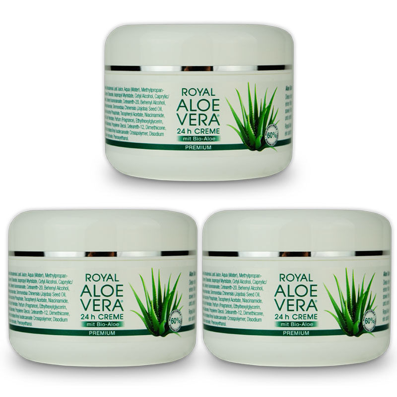 3 x royal aloe vera 24h gesichtscreme tages nacht creme. Black Bedroom Furniture Sets. Home Design Ideas