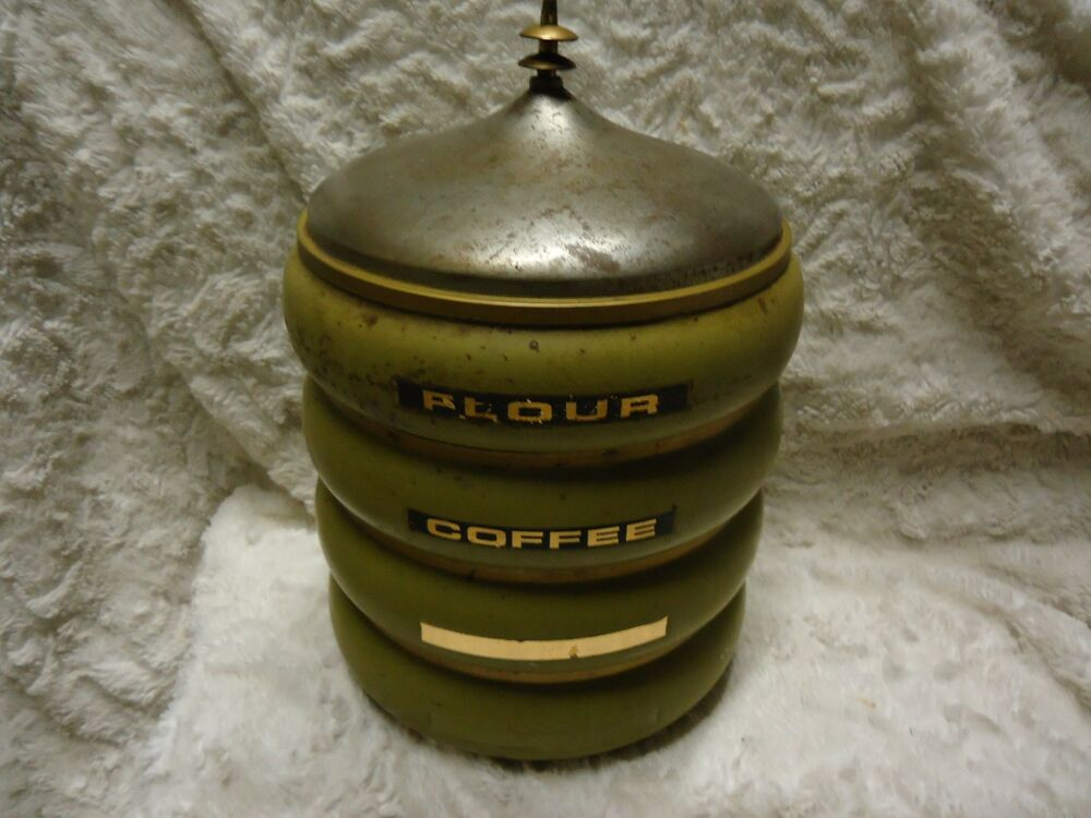 Vintage 4 Set Of 9 Round Metal Stacking Coffee Tea Sugar Flour Canisters Jars Ebay