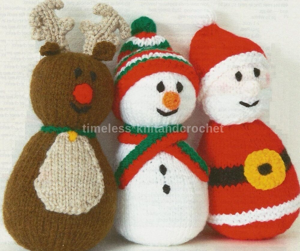 Knitting Patterns Christmas Toys : KNITTING PATTERN FOR SANTA, REINDEER AND SNOWMAN TOYS / BABY TOYS - CHRISTMAS...