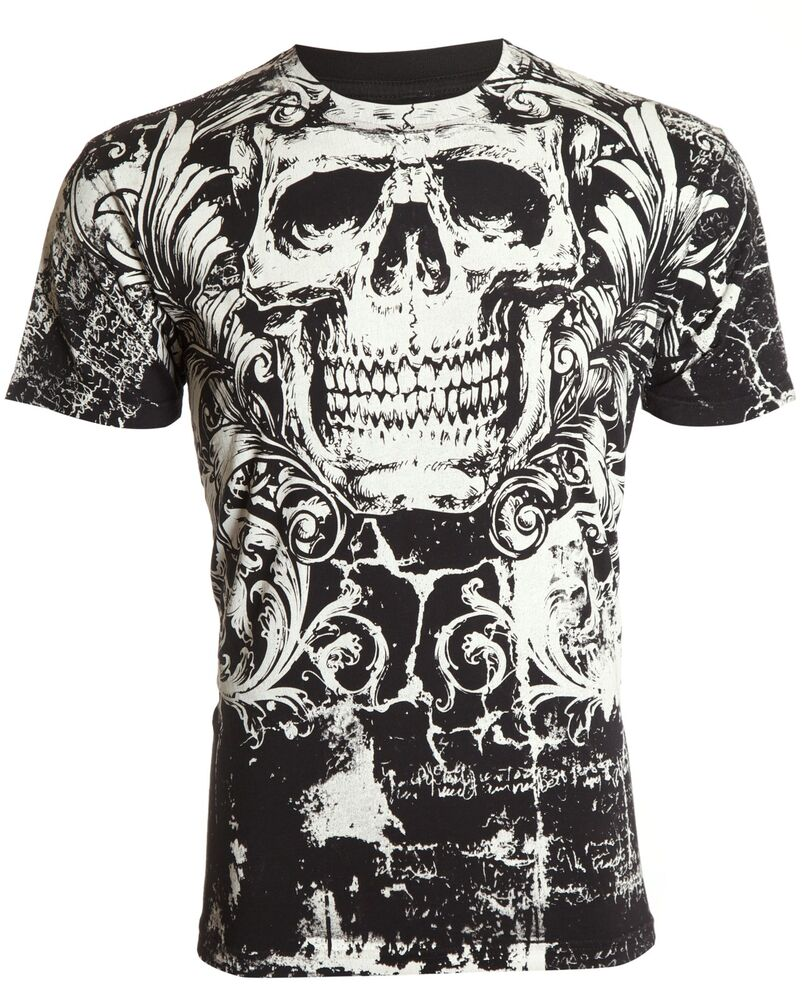 archaic affliction mens t shirt killroy skull biker