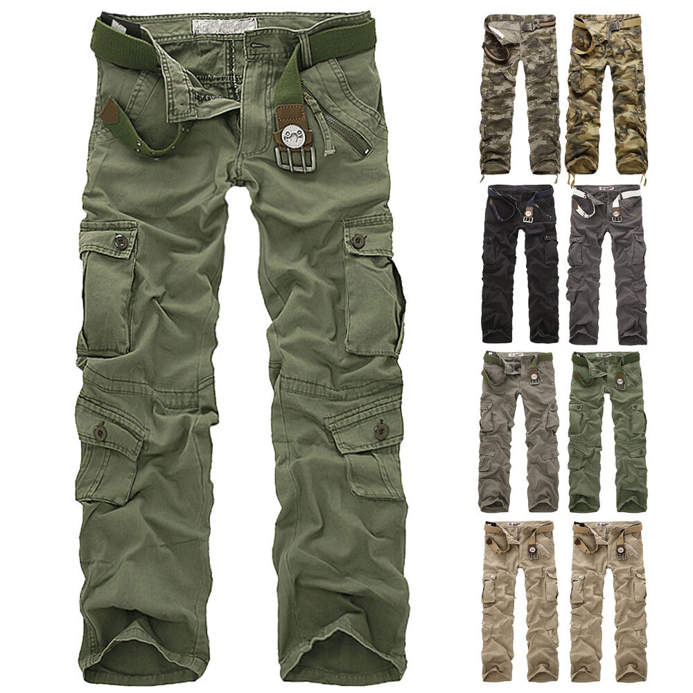 Combat Men's Cotton Cargo ARMY Pants Military Camouflage Camo ...