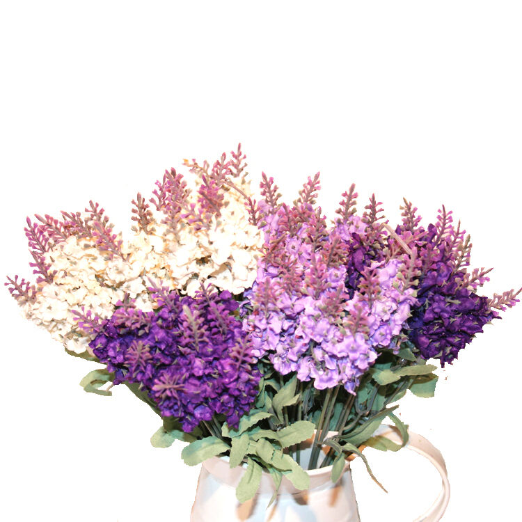 Artificial lavender silk flower bouquet home wedding for Artificial flowers for home decoration online