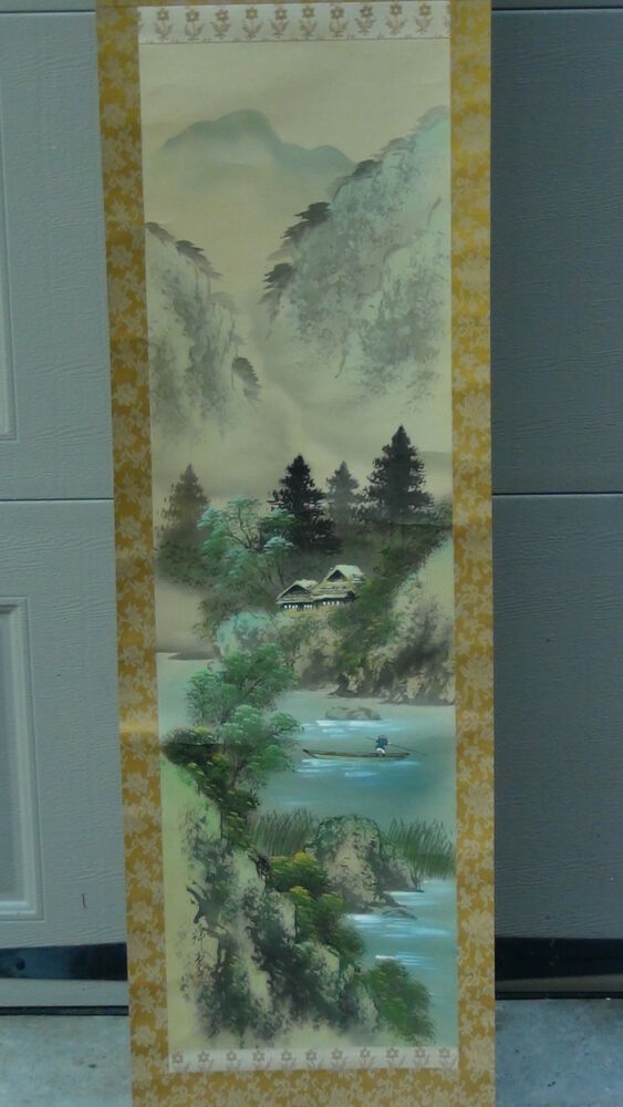 ANTIQUE EARLY 20c CHINESE WATERCOLOR &INK SCROLL OF