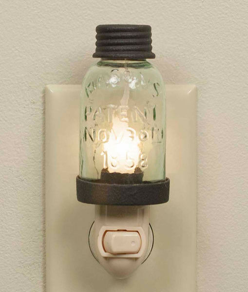 Country Home Design Ideas: Farmhouse/Cottage/Primitive/Country Mason Jar Night Light