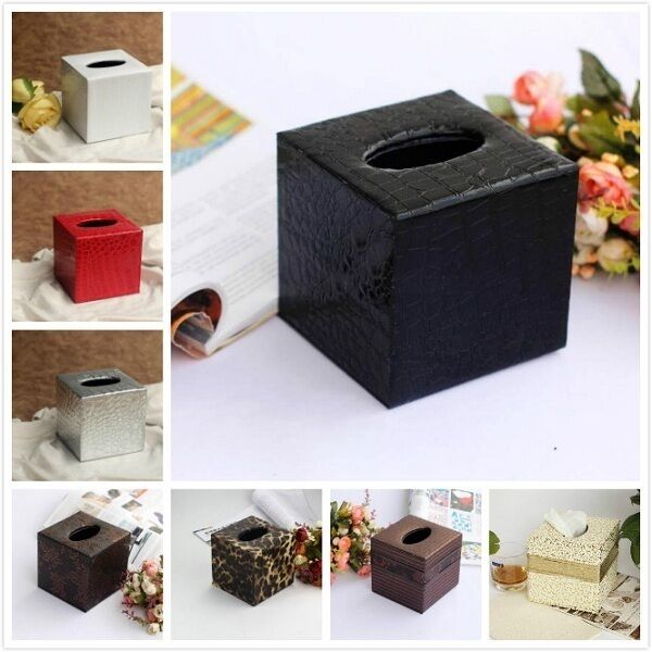 tissuebox kosmetikt cherbox taschentuch kleenexbox pu leder t cher box deko ebay. Black Bedroom Furniture Sets. Home Design Ideas