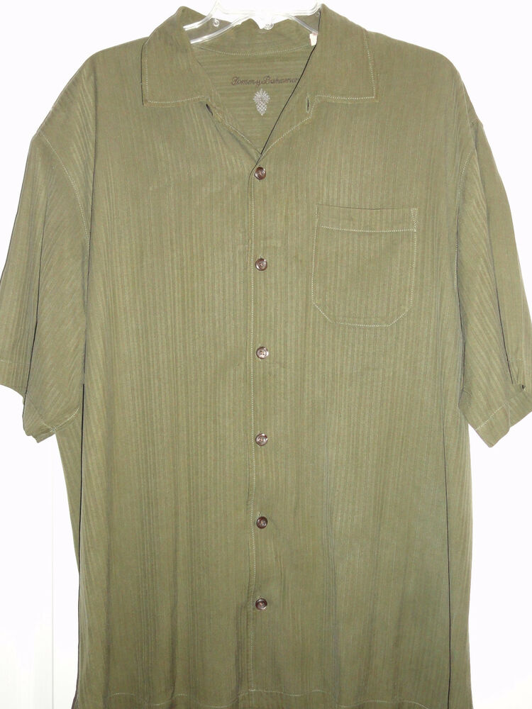Tommy Bahama Button Down Silk Shirt Mens Xl Green Ebay