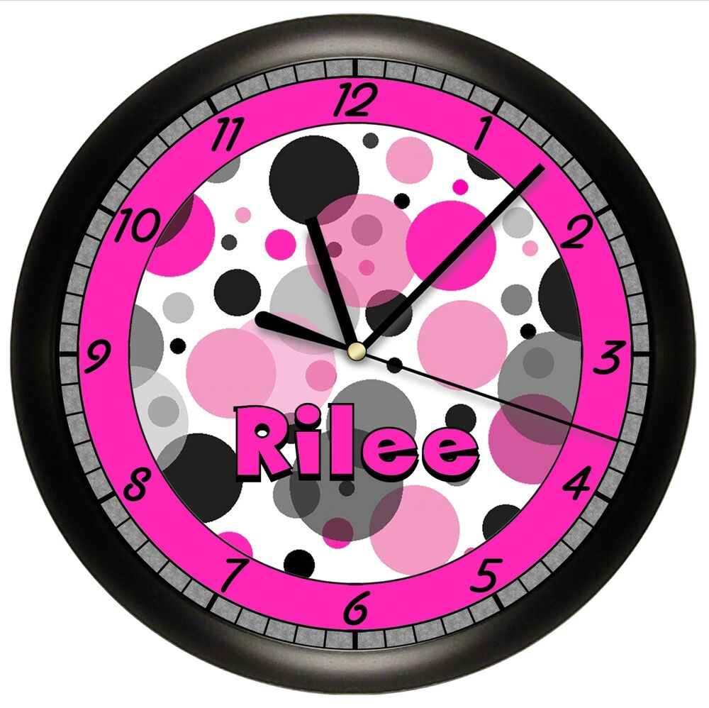 hot pink and black dots wall clock personalized gift girls