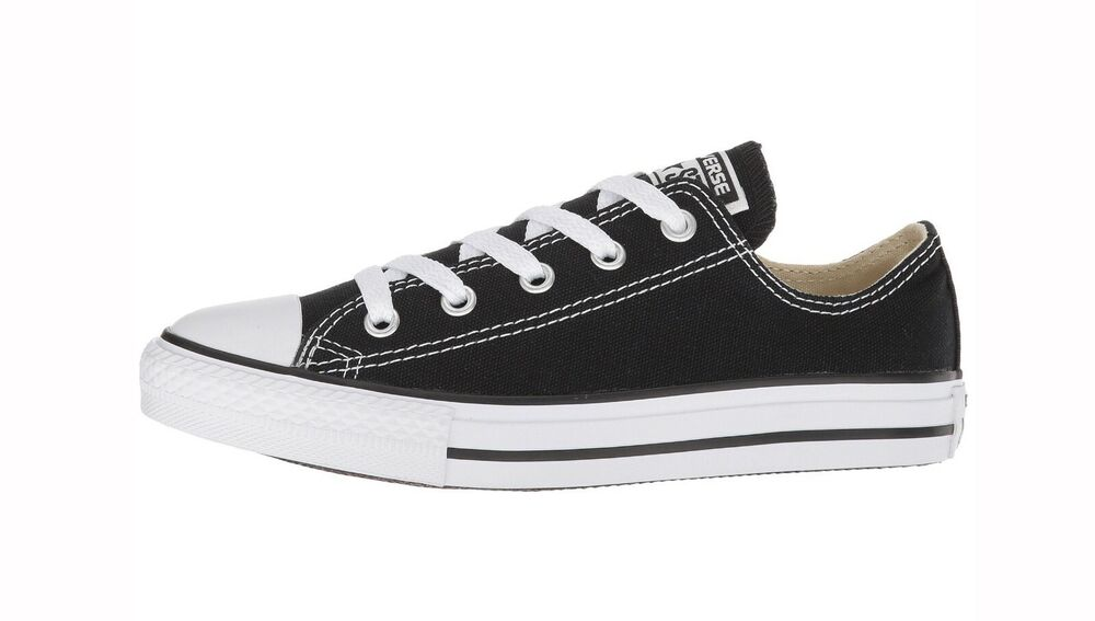 CONVERSE All Star Low Top Black White Shoes Canvas Kids ...