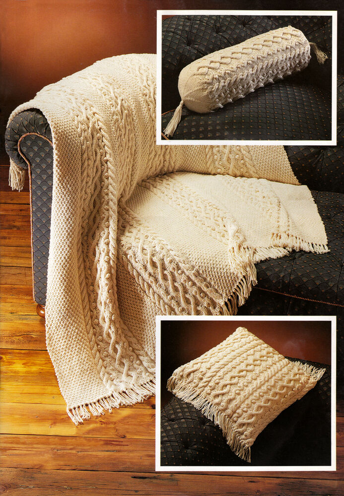 ARAN KNITTING PATTERN 8196 ARAN THROW, 16 in CUSHION COVER & BOLSTER COVE...