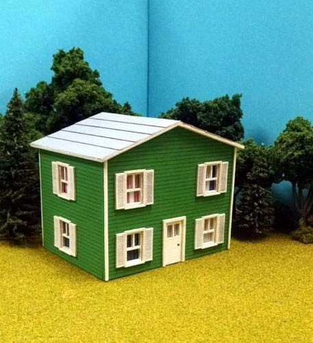 Ho scale laser cut custom oscar 39 s two story house building for 2 story home kits