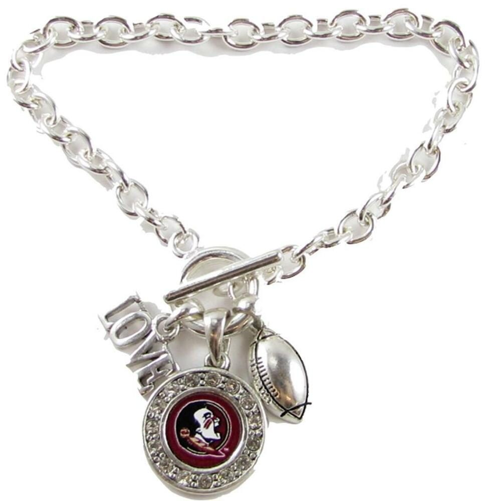 florida state seminoles multi charm love football silver bracelet jewelry fsu ebay. Black Bedroom Furniture Sets. Home Design Ideas
