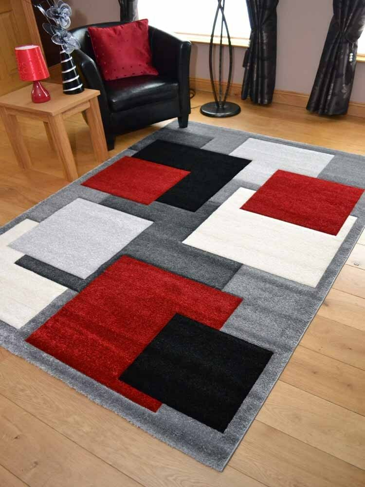 New Modern Thick Soft Quality Silver Black Red Floor Mat