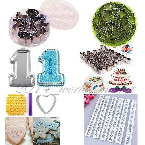 Letter Cutters For Cake Decorating : Alphabet Letter Cake Cookie Decorating Fondant Cutter ...