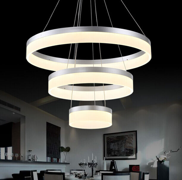Acrylic Led Ring Chandelier Pendant Lamp Ceiling Light: New Modern Acrylic Round Pendant Lamp Ring Ceiling Light