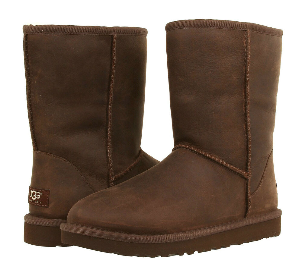 Ugg Australia Classic Short Leather Brown Stone Color