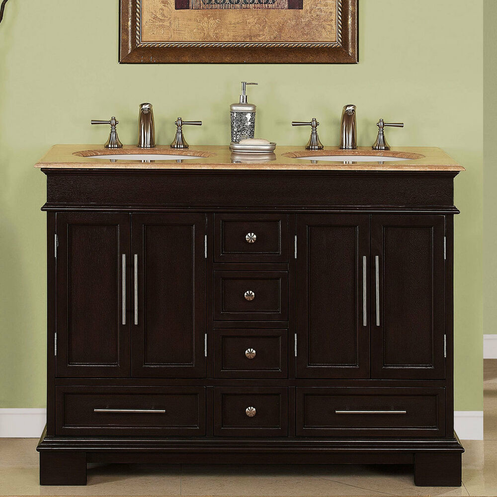 48 compact travertine countertop bathroom vanity small for Double vanity for small bathroom