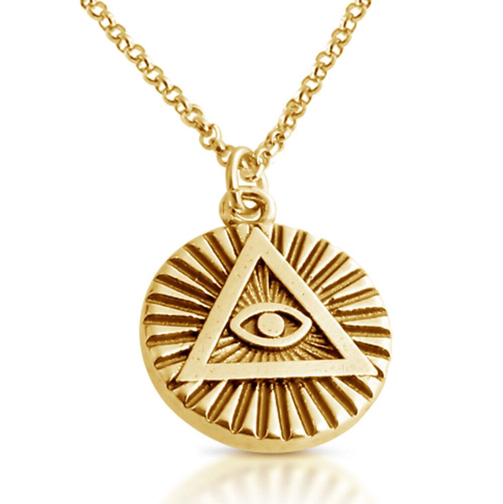illuminati eye pendant necklace 14k gold plated sterling